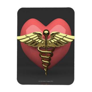 Heart symbol with medical symbol (caduceus) rectangle magnets