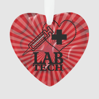 HEART SYRINGE LAB TECH CHRISTMAS ORNAMENT BLOOD