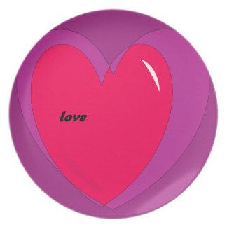 Heart Tableware Love Plates Red Purple