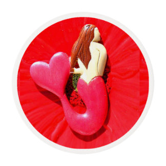 heart-tailed redhead mermaid beauty edible frosting rounds