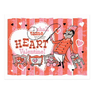 Heart Tamer Retro Valentine Postcard