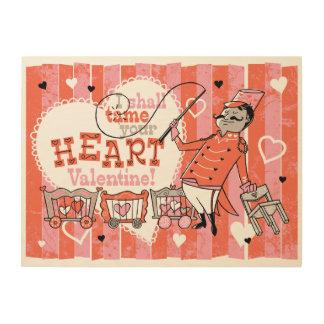 Heart Tamer Retro Valentine Wood Sign 24x18 Wood Print