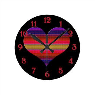 Heart Tapestry Design Round Clock