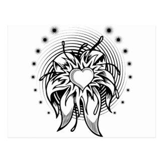 heart tattoo postcard