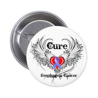 Heart Tattoo Wings - Cure Esophageal Cancer 2 Inch Round Button