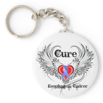 Heart Tattoo Wings - Cure Esophageal Cancer Basic Round Button Keychain
