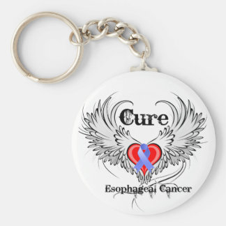Heart Tattoo Wings - Cure Esophageal Cancer Keychain