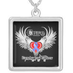 Heart Tattoo Wings - Cure Esophageal Cancer Square Pendant Necklace