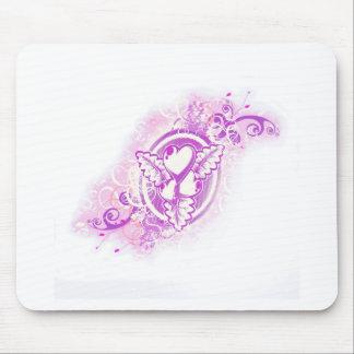 Heart Tattoo with Flowers (purple) Mousepads