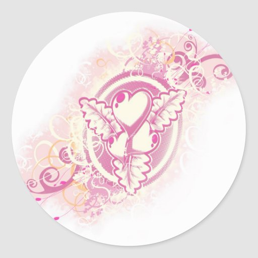 Heart Tattoo with Flowers Round Stickers