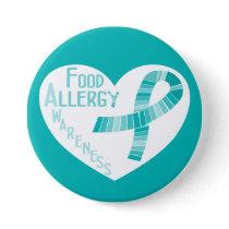Heart Teal Ribbon Food Allergy Awareness Pinback Button