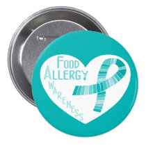 Heart Teal Ribbon Food Allergy Awareness Pinback Button