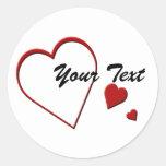 Heart Template Sticker Round Sticker
