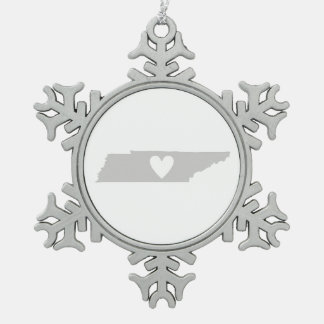 Heart Tennessee state silhouette Snowflake Pewter Christmas Ornament