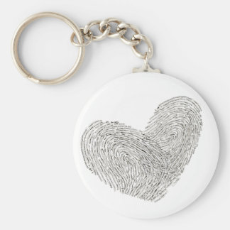 Heart text design in thumbprint seal keychain