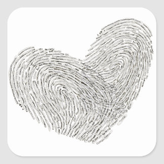 Heart text design in thumbprint seal square sticker