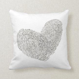 Heart text design in thumbprint seal throw pillow