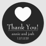 Heart Thank You Labels (Black) Round Stickers