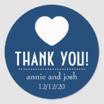 Heart Thank You Labels (Dark Blue) Stickers