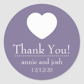 Heart Thank You Labels Eggplant Purple Round Stickers
