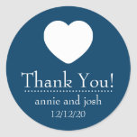 Heart Thank You Labels (Navy Blue) Classic Round Sticker