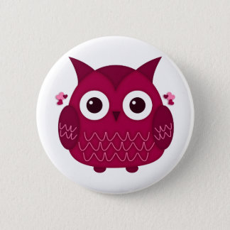 Heart the Pink Owl Button