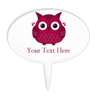Heart the Pink Owl Cake Topper