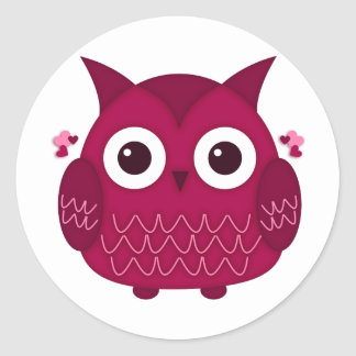 Heart the Pink Owl Classic Round Sticker