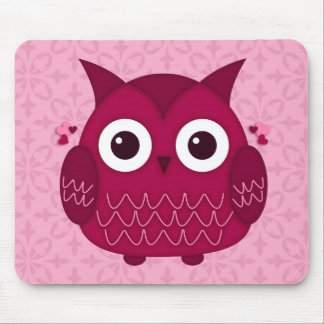 Heart the Pink Owl Mouse Pad