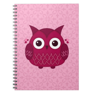 Heart the Pink Owl Spiral Note Books