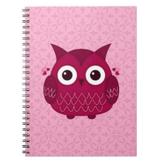 Heart the Pink Owl Spiral Notebook