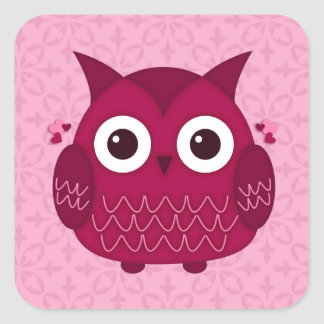 Heart the Pink Owl Square Sticker