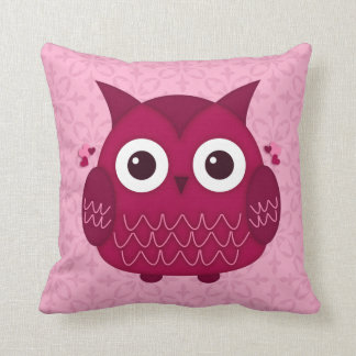 Heart the Pink Owl Throw Pillow