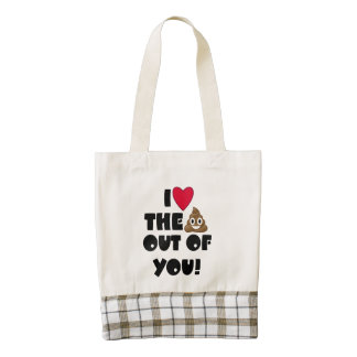 Heart The Poop EMoji Zazzle HEART Tote Bag