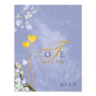 Heart Theme Blue Wedding Monogram RSVP 4 25x5 5 Invitation