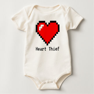 Heart Thief 8 Bit Pixel Art - Funny Geeky Gamer Baby Bodysuit