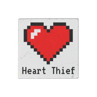 Heart Thief 8 Bit Pixel Art - Funny Geeky Gamer Stone Magnet
