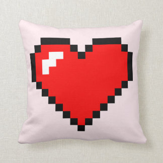 Heart Thief 8 Bit Pixel Art - Funny Geeky Gamer Throw Pillow
