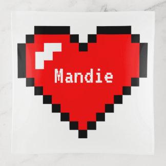 Heart Thief 8 Bit Pixel Art - Funny Geeky Gamer Trinket Trays