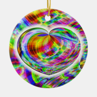 heart-tie-dye Double-Sided ceramic round christmas ornament