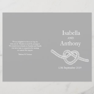 Heart Tie The Knot Large Wedding Programs