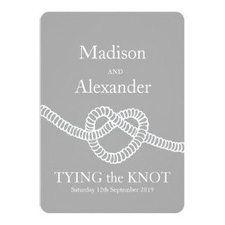 Heart tie the knot wedding grey white invitation