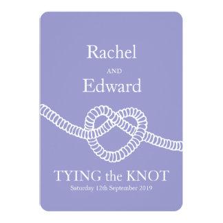 Heart tie the knot wedding purple white invitation