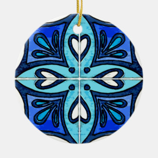 Heart Tiles Inspired by Portuguese Azulejos Blue Double-Sided Ceramic Round Christmas Ornament