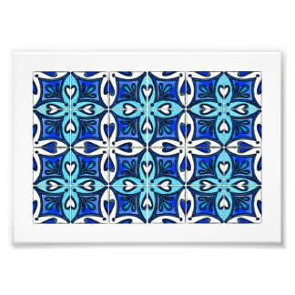 Heart Tiles Inspired by Portuguese Azulejos Blue Photo Print
