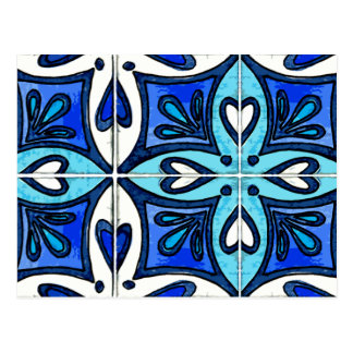 Heart Tiles Inspired by Portuguese Azulejos Blue Postcard
