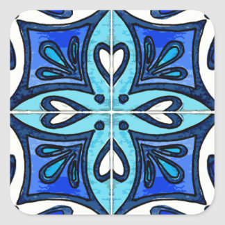 Heart Tiles Inspired by Portuguese Azulejos Blue Square Sticker