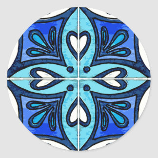 Heart Tiles Inspired by Portuguese Azulejos Blue Round Stickers