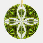 Heart Tiles Inspired by Portuguese Azulejos Green Christmas Ornament