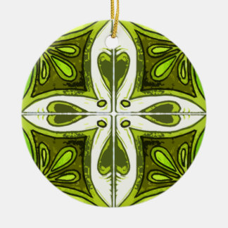 Heart Tiles Inspired by Portuguese Azulejos Green Double-Sided Ceramic Round Christmas Ornament